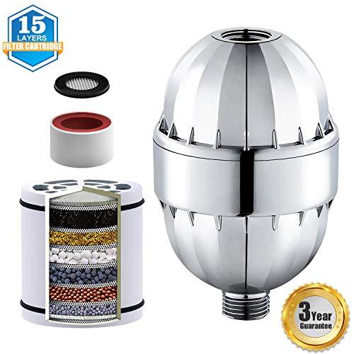 Lightsjoy 15-Schichten Duschfilter Shower Filter Duschfilter Shower Filter Universal Filtert Chloramin Fluorid Schwermetalle Filter mit Austauschbarer Filterpatrone Erweichen von Hartem Wasser