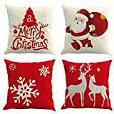 Ogrmar 4PCS 18'x18' Throw Pillow Covers Christmas Decorative Couch Pillow Cases Cotton Linen Pillow Square Cushion Cover for Sofa, Couch, Bed and Car (Christmas-B)
