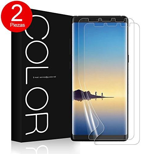 G-Color Galaxy Note 8 Protector de Pantalla, [2 Piezas], [Alta Definición y Sensibilidad] [Cobertura Perfecta] [Sin Burbujas] [Anti-arañazos] TPU, Protector de Pantalla para Samsung Galaxy Note8