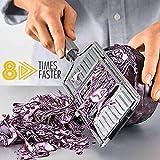 Cortador de verduras multiusos de acero inoxidable, 3 en 1 manual de alimentos picador rallador de verduras cortador de herramientas de cocina