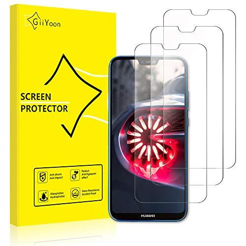 GiiYoon Verre Trempé pour Huawei P20 Lite (3 Pièces), [sans Bulles] [9H Dureté] [Anti-Rayures], 2.5D Couverture Complète Film Protection Écran Huawei P20 Lite