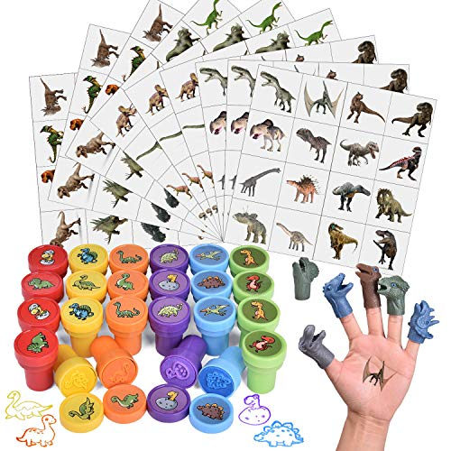 174 Pcs Dinosaur Stamps Set Including Stamps, Stickers, Tattoos, and Dinosaur Figures, Gifts for Kids Party Favors, Goodie Bag Fillers, Teacher Stamps, School Classroom Rewards, Back to School Gift