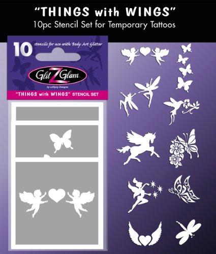 Kit de Plantillas para Tatuajes temporales: Cosas con alas Tatuajes para niños, Adolescentes y Adultos