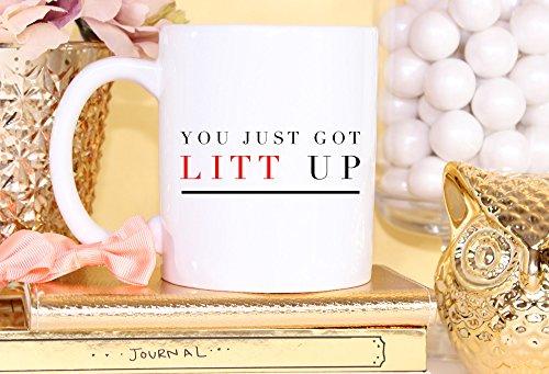 Taza divertida de café con texto en inglés «Suits Litt Up You Just Got Litt Up - Taza de café con texto en inglés 'The Law School'