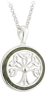 Connemara Marble Necklace Tree of Life Sterling Silver Made in Ireland