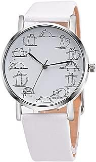 Unisex Retro Watch,Hosamtel Women Men Lovely Cartoon Cat Leather Band Analog Alloy Quartz Wristwatch