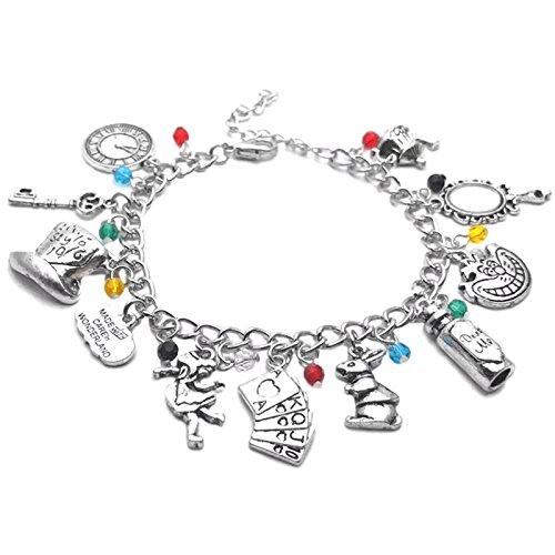 """Glitzerndes Charm-Armband """"Alice im Wunderland"""" in Geschenk-Box für Damen und Mädchen"""