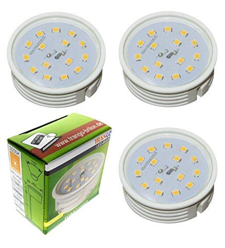 Trango 3er Pack LED Modul Leuchtmittel 3TGMO15 I 3000K warmweiß Ultra flach nur 30mm Einbautiefe zum Austausch Einbaustrahler I Einbauleuchten I Deckenstrahler mit GU10 I MR16 Leuchtmittel
