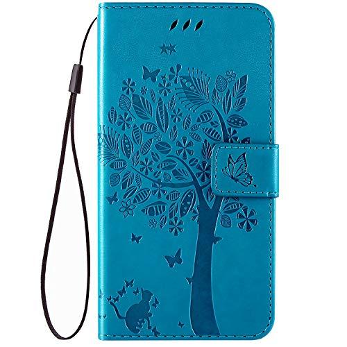 QPOLLY Kompatibel für Oneplus 7 Hülle Leder Tasche Flip Case Katze und Baum Muster Handytasche Magnet Schutzhülle im Brieftasche-Stil mit Kartenfächer Standfunktion,Blau