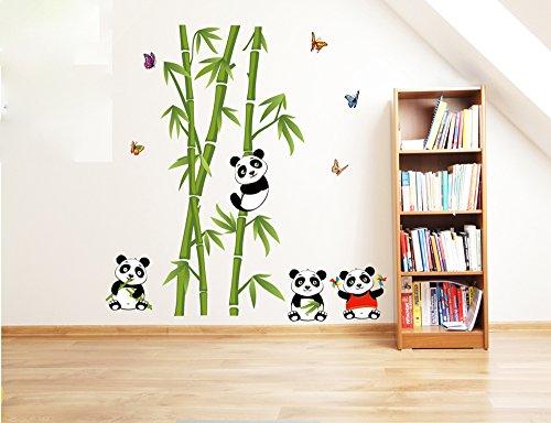 ufengke® Grüner Bambus Niedlichen Panda Schmetterlinge Wandsticker, Wohnzimmer Schlafzimmer Entfernbare Wandtattoos Wandbilder