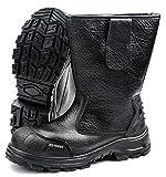 Pesso Safety Shoes B643 S3 - Puntera de Metal Mediasuela de Metal Resistente a Perforaciones. Piel impregnada Resistente al abrasivo, Color Negro, Talla 47 EU