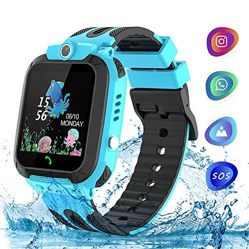 Kinder Uhr Kids Smart Watch, TLLAYGM Wasserdicht Kinder Smartwatch Kinderuhren Telefon Uhr Uhren für Kinder Armbanduhr Geschenk Jungen Mädchen Blau