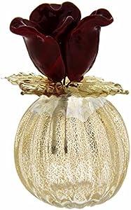 Bombonera con forma de hoja dorada y florero de cristal de Murano fabricado en Italia