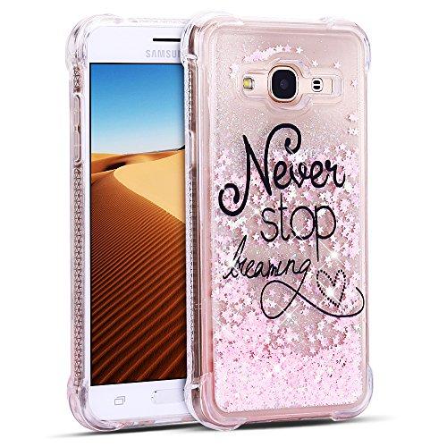 FroFine Custodia per Samsung Galaxy J3 2016 Crystal Clear Trasparente Silicone TPU Bumper Dinamico Glitter Fluido Sabbia Elettrica Custodia Protettiva AntiGraffio Resistente agli Urti Lucida Case