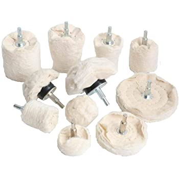 """Aluminum Including Cotton 2/"""" 3/"""" 4/"""" Chrome 2 Pcs Polishing Compound Stainless Steel ,Cone//Column//Mushroom//with 1//4 Handle 9 Pcs Buffing Pad Polishing Wheel Kits with 40 Ply for Manifold"""