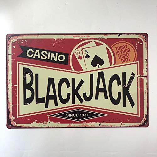 Casino Black Jack Since 1937, Vintage Bar Cafe Dekoration Retro Poster Pub Metallplatte Blech Schild 20,3 x 30,5 cm
