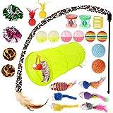 GOLDGE 25 Stück Katzenspielzeug Set mit Katzentunnel Katze Toys Variety Spielzeug Set Federspielzeug Bälle Spielzeugmäuse Verschiedene Spielzeug für Katze Kitty