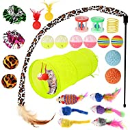 GOLDGE 25 Piece Cat Toy Set with Cat Tunnel Cat Toys Variety Toy Set Feather Toy Balls Toy Mice Vari...