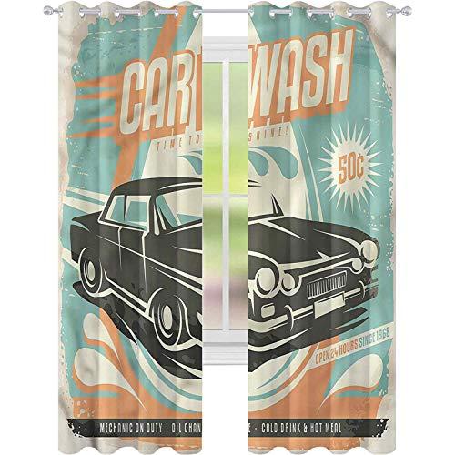 Cortina de ventana para coche, diseño retro de coche, 52 x 84, para sala de estar