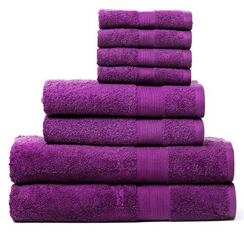 Rare Fig Juegos de Toallas de algodón Altamente Absorbente 2 Toallas de baño, 2 Toallas de Mano y 4 Ropa de Lavado para baño, peluquería, Toallas de SPA y Masaje - 8 Piezas (Morado)