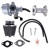 Xzbnwuviei Filtro de aire de tubo de admisión de carburador PZ22 de 22 mm para 110 cc 125 cc ATV Quad Pit Pro Dirt Trail Bike