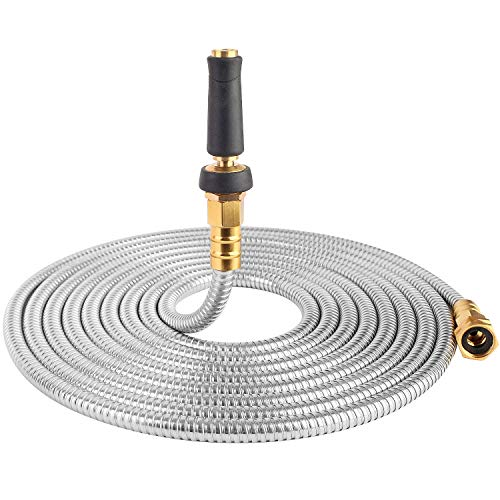 25' 304 Stainless Steel Garden Hose, Lightweight Metal Hose with Free Nozzle, Guaranteed Flexible and Kink Free