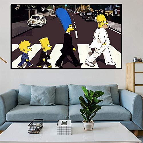 DSFJK Simpsons Poster und Drucke, Zeichentrickfilm Marge Road Art Leinwand Malerei Poster, Bar Cafe Kinder Schlafzimmer Wandkunst Bilder 50 * 75 cm Ungerahmt