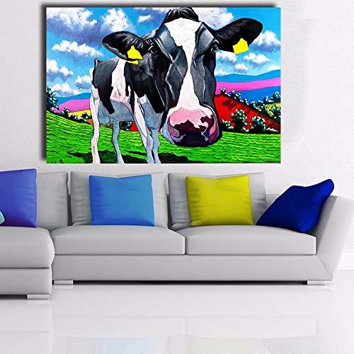 N / A Rahmenlose Malerei Leinwand im modernen Stil Leinwand für die Dekoration Ölgemälde Kunst Wandgemälde Kuh auf dem RasenZGQ8483 60x90cm