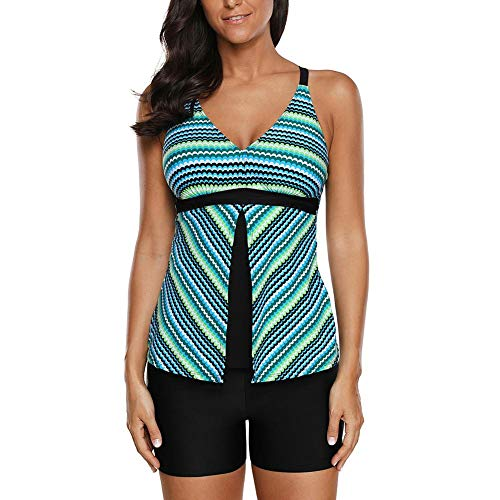 Dough.Q New Greenish Fish Scale Print Tankini en Short Set dames Striped Print badpak tweedelige bikini