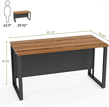 TEKAVO – Wooden Computer Office Desk, Industrial, Writing Gaming Table, Laptop Stand Desk for Home Office-120x60x76 cm (Rusti
