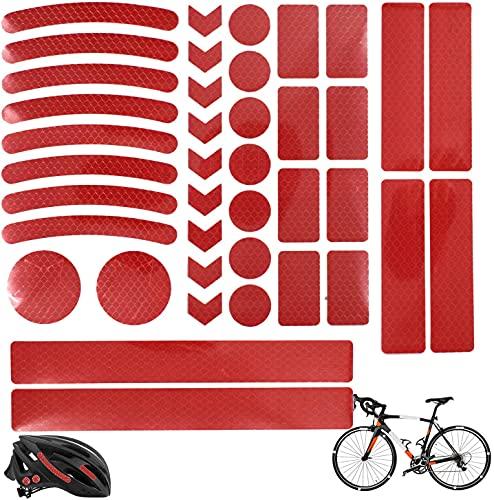 Vnice 42 Pezzi Catarifrangente per Bicicletta, Adesivo Impermeabile Catarifrangente Kit Nastro Riflettente Adesivo per Bicicletta Alta visibilità e Sicurezza della Bici Notturna (Rosso)
