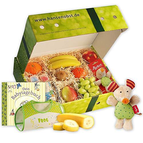 Obstbox Glückwünsche zur Geburt mit Babytagebuch, Lätzchen, Tee, frischem Obst und mehr in einer Geschenkbox