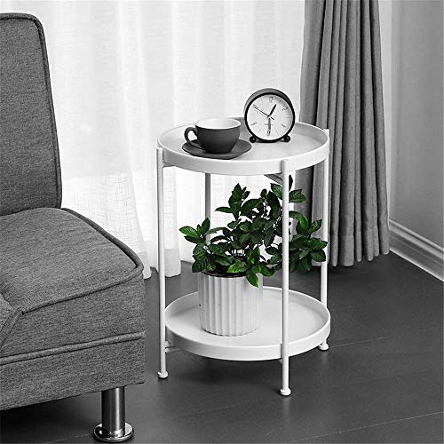 N/Z Home Equipment Side Table 2-Tier Round Folding Side Table Side Table Small Tray Metal End Table For Outdoor Or Indoor Use Waterproof Nightstand Sofa Tables Accent Coffee Table Hallway Furniture