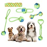 LKJYBG Dog Rope Toys Chew Teething Training Toys Natural Cotton Interactive 7Pcs Set Cotton Rope for Small and Medium Dogs