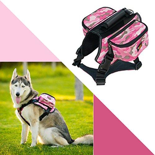 Ondoing Hond Rugzak Servies Middelgrote honden Backpack Outdoor fietstas zadeltas verstelbare huisdier tas Pack reflecterend vest hondenharnas voor wandelen camping reizen, X-Large, camouflageverf roze