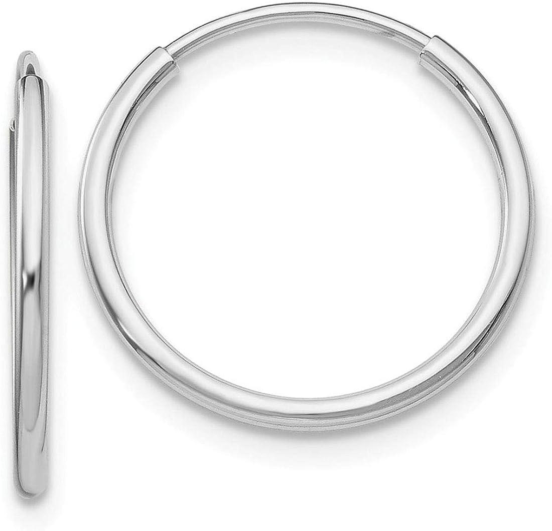 14K White Gold Polished Endless 23mm Round Tube Hoop Earrings