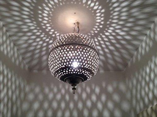 Marokkanische Hängelampe Kora Nhas Silber Mittel inkl. Baldachin