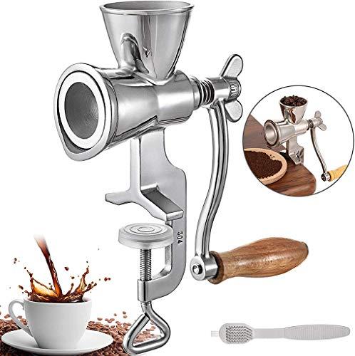 GWQDJ Macchina di Tostatura dei Chicchi di caffè, Macinacaffè Manuale Macinacaffè con Manico in Legno, Acciaio Inossidabile Rullo Tostatori di caffè