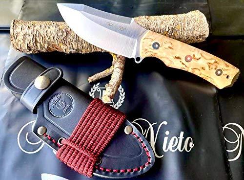 NIETO - 144-A. Cuchillo de Supervivencia Nieto PANZER. Acero BÖHLER. Mango de Abedul. Hoja 9,5 cm. Funda de cuero . Herramienta para Caza, Pesca, Camping, Outdoor, Supervivencia y Bushcraft