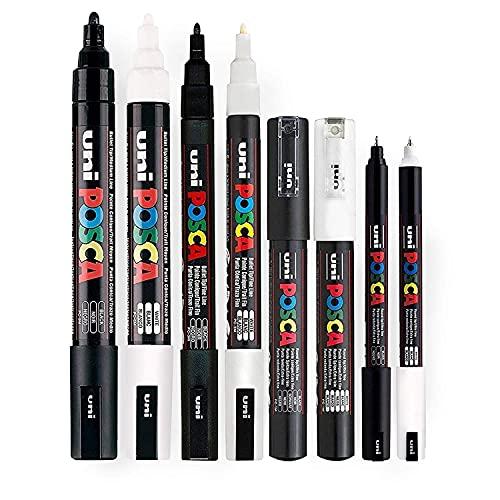 Posca Black & White–Set di 8penne, tratto da medio a fine, nero e bianco (PC-5M, PC-3M, PC-1M, PC-1MR)