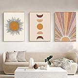 Abstrakte Leinwand Wandkunst Malerei Boho Sonne Mond Poster
