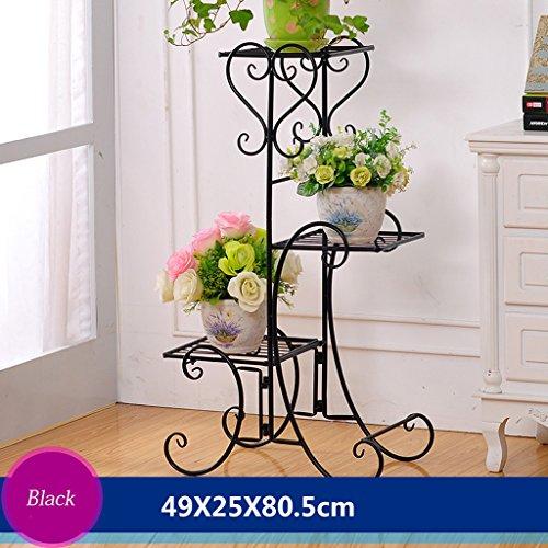 Cadre en fleur de fer Cadre de chêne en bois de plancher Ensemble de salon intérieur et extérieur Salon de fleurs en balcon 3 couches (49 * 25 * 80,5 cm) (Couleur : Noir)