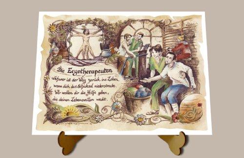Die Staffelei Geschenk Ergotherapeuten Ergotherapeut Ergotherapie Zeichnung Color 30 x 21 cm mit Aufsteller