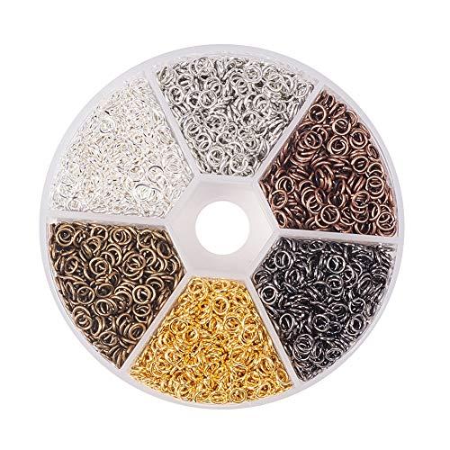 PandaHall 1 Scatola 6 Colori 3300PCS Anellini Aperti Anellini per Bigiotteria di Ferro, Chiusi ma Non-Saldatura, Colore Misto, 4x0.7mm