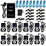 EXMAX EX-100 72-76MHz Wireless Tour Guide System Live Translator Microphone Church Translation Devices Simultaneous Interpreting Equipment Conference Social Distancing (1 Transmitter 8 Receivers)
