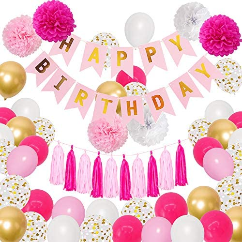 Pink Birthday Party Decorations 12 10 Hot Pink Gold White Confetti Latex Metallic Balloons with product image