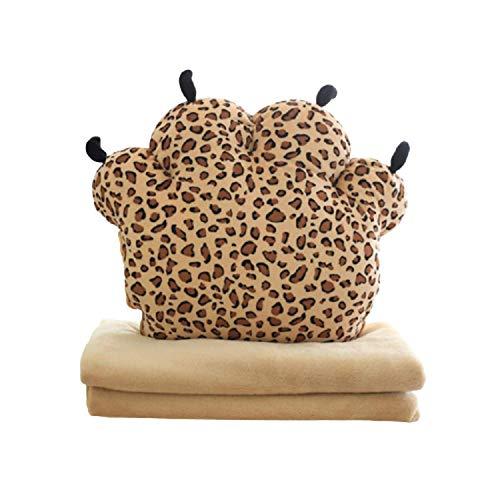 GHJU Kissen in Bärentatzenform, 3-in-1-Mehrzweck-Nickerchen, warme Hände, Decke, Schlafkomfort, Plüschkissen für Bürostuhl, Autositz Qingqiao