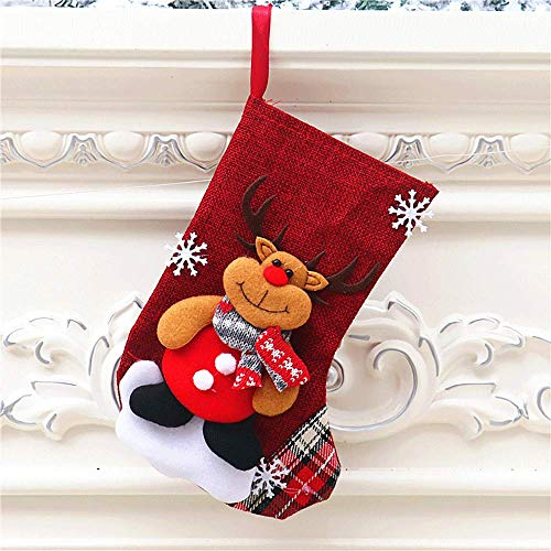 Christmas stocking, Christmas candy gift bag, used for Christmas decorations, themed Santa Claus, snowman, reindeer, bear, size 22cm high (red_3)