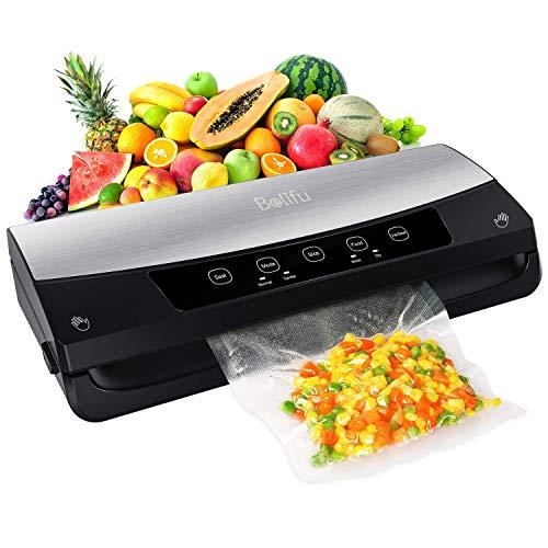 Belifu Vakuumiergerät, Automatischer Vakuumierer mit Eingebautem Cutter, Lebensmittelversiegeler für Trockene und Feuchte Lebensmitteln, Kompaktes Folienschweißgerät mit LED-Anzeige (Edelstahl)