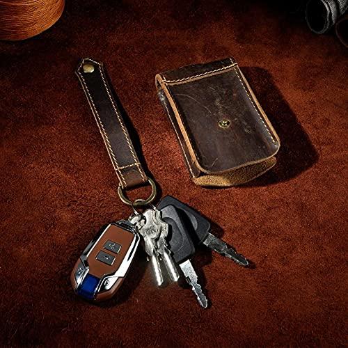 USNASLM Original Hombres Cuero Genuino Moda Calidad Car Key Case Remote Key Ring Funda Protectora Llavero Paquete Bolsa